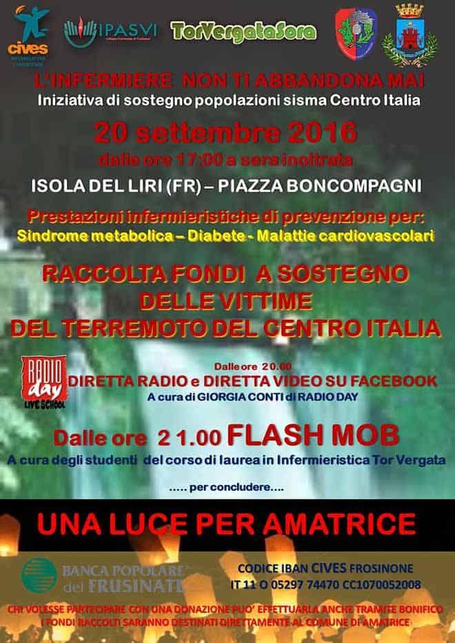 Il 20 Settembre raccolta fondi a favore delle popolazioni colpite dal sisma del Centro Italia